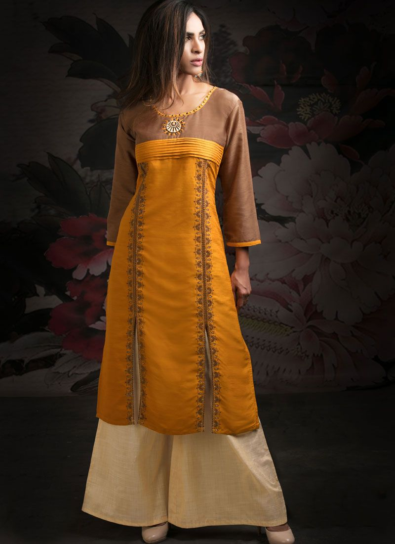 Brown and Orange Embroidered Designer Palazzo Salwar Kameez