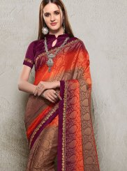 Brown and Orange Printed Trendy Saree