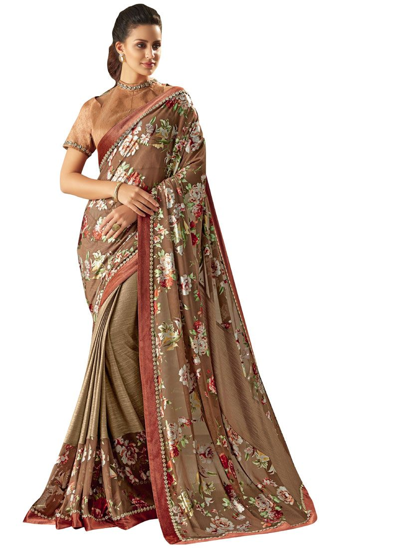Brown and Peach Trendy Saree