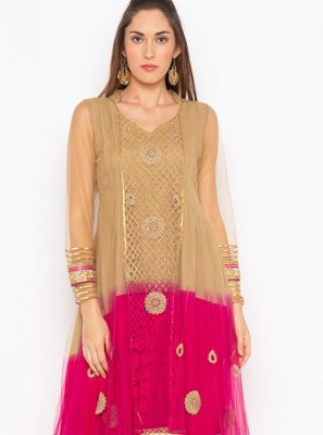 Beige and Pink Embroidered Net Party Wear Kurti