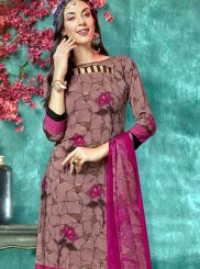 Brown and Pink Printed Faux Crepe Salwar Suit