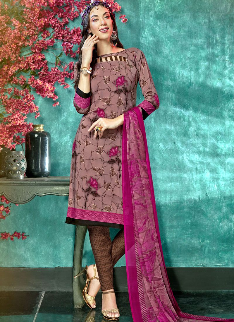 Brown and Pink Printed Faux Crepe Salwar Suit