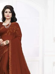 Brown and Rust Georgette Satin Embroidered Casual Saree