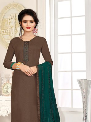 Brown and Teal Cotton Mehndi Churidar Salwar Suit