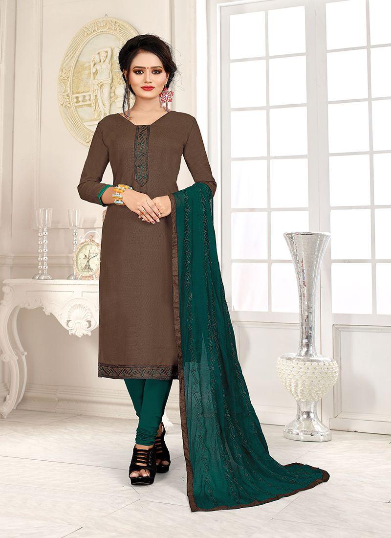 Brown and Teal Cotton Mehndi Churidar Salwar Suit
