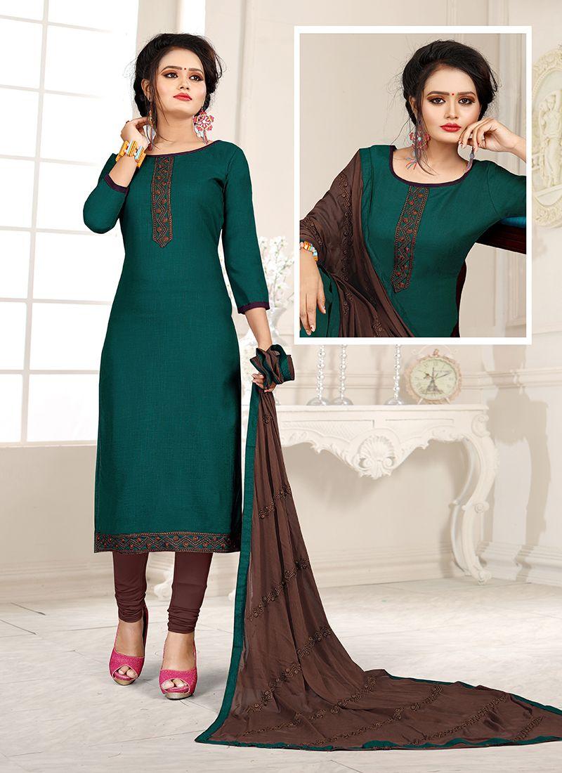 Brown and Teal Cotton Trendy Churidar Salwar Suit