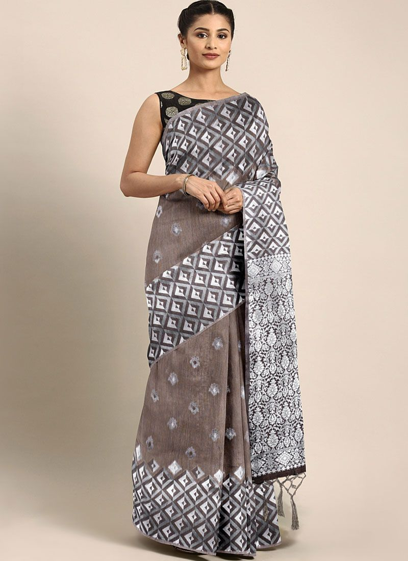 Brown and White Festival Trendy Saree