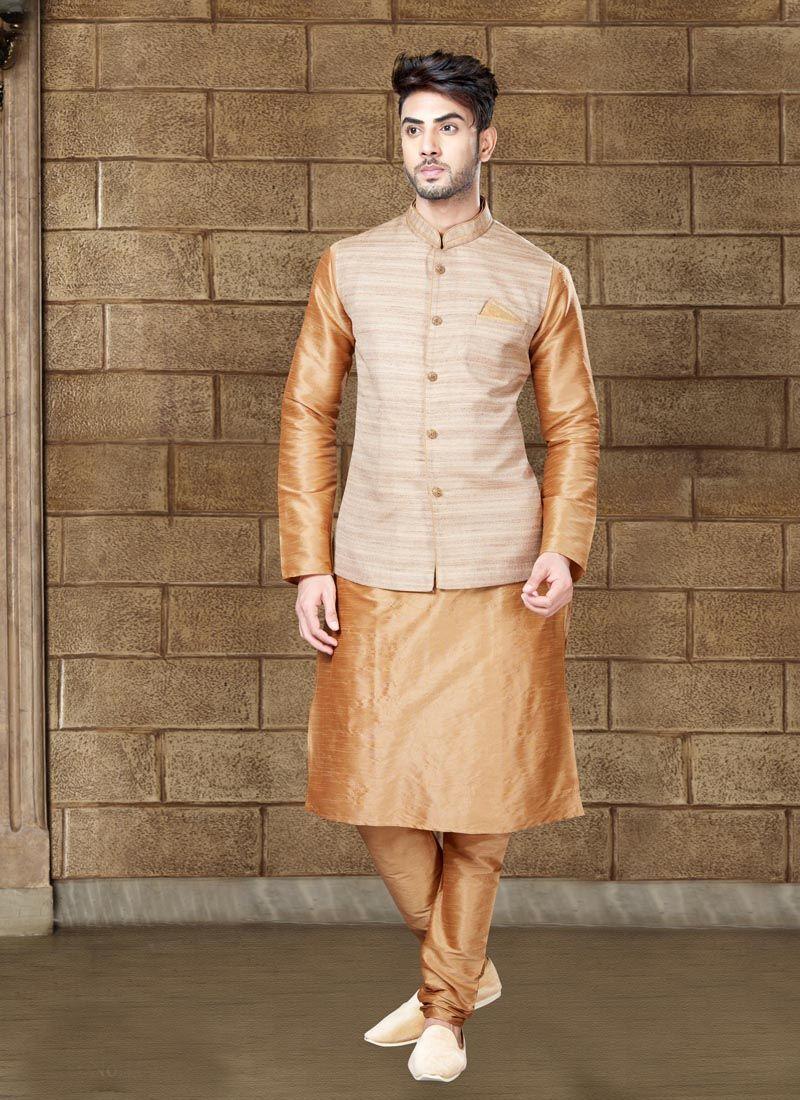 Brown Art Dupion Silk Kurta Pyjama with Plain