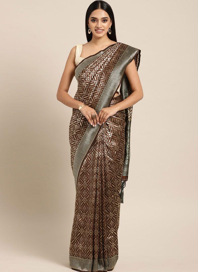 Brown Art Silk Casual Classic Designer Saree