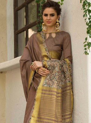 Brown Art Silk Cotton Traditional  Saree