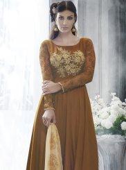 Brown Art Silk Designer Salwar Kameez