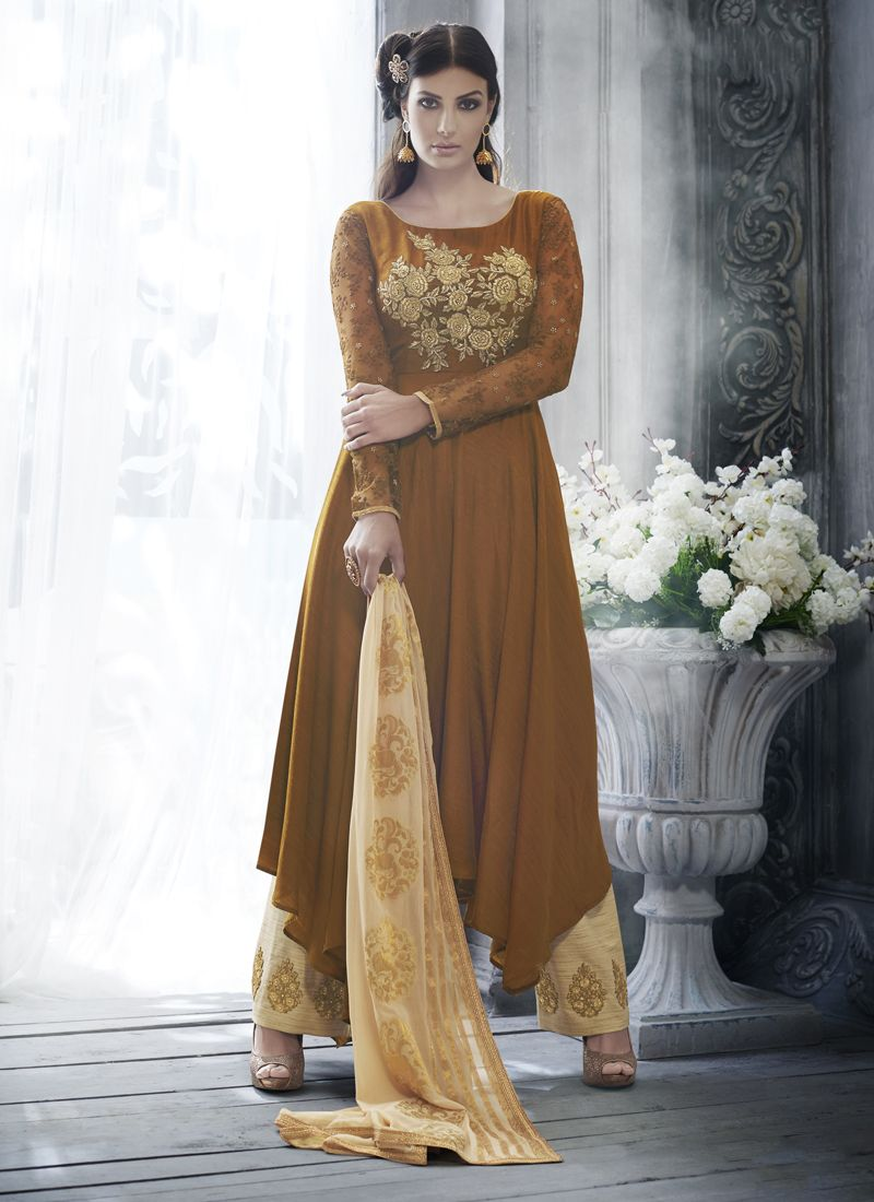 Brown Art Silk Designer Salwar Kameez