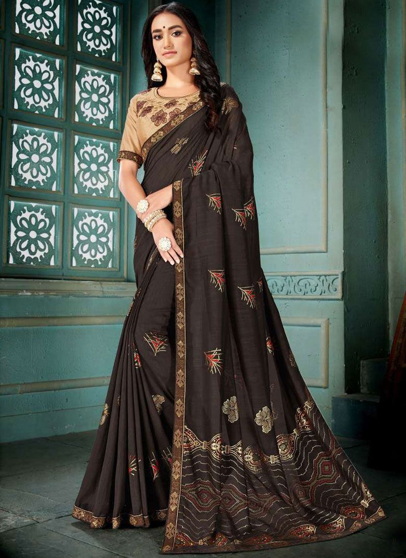 Brown Art Silk Embroidered Traditional Saree