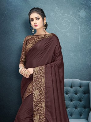 Brown Art Silk Trendy Saree