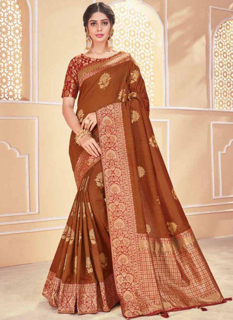 Brown Banarasi Silk Party Traditional Saree