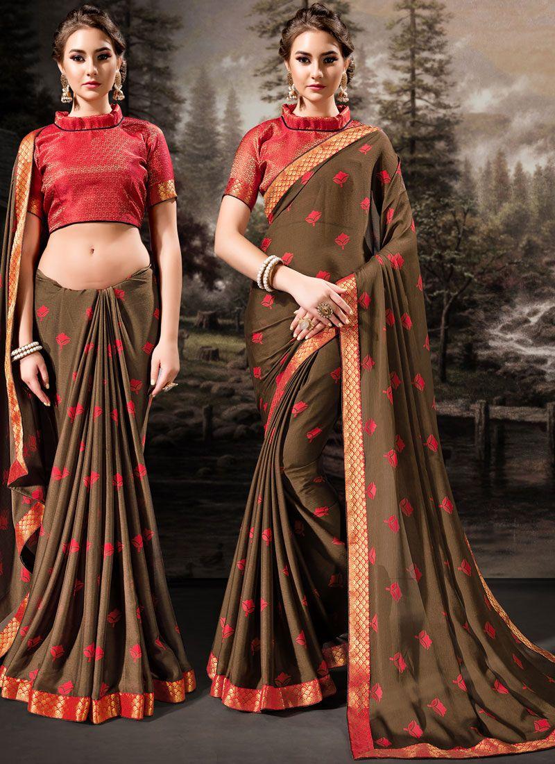 Brown Banglori Silk Classic Designer Saree