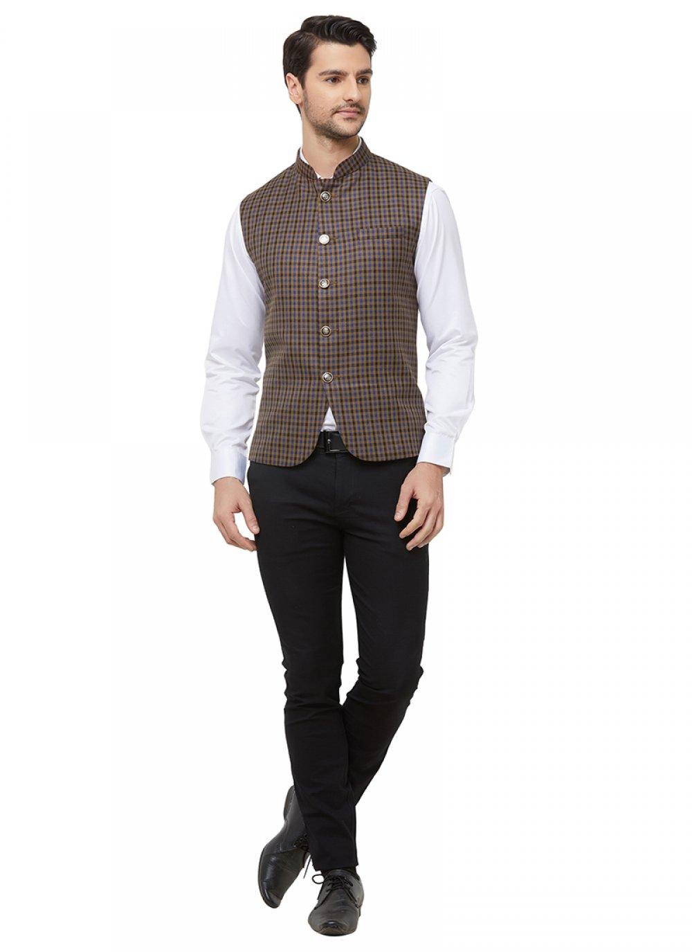 Brown Blended Cotton Printed Nehru Jackets