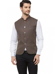Brown Blended Cotton Printed Nehru Jackets