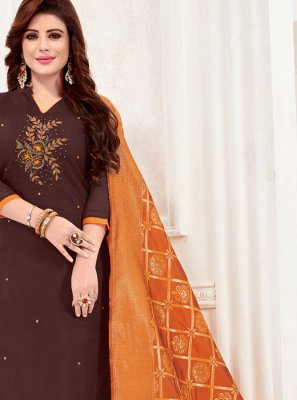 Brown Border Casual Churidar Salwar Suit