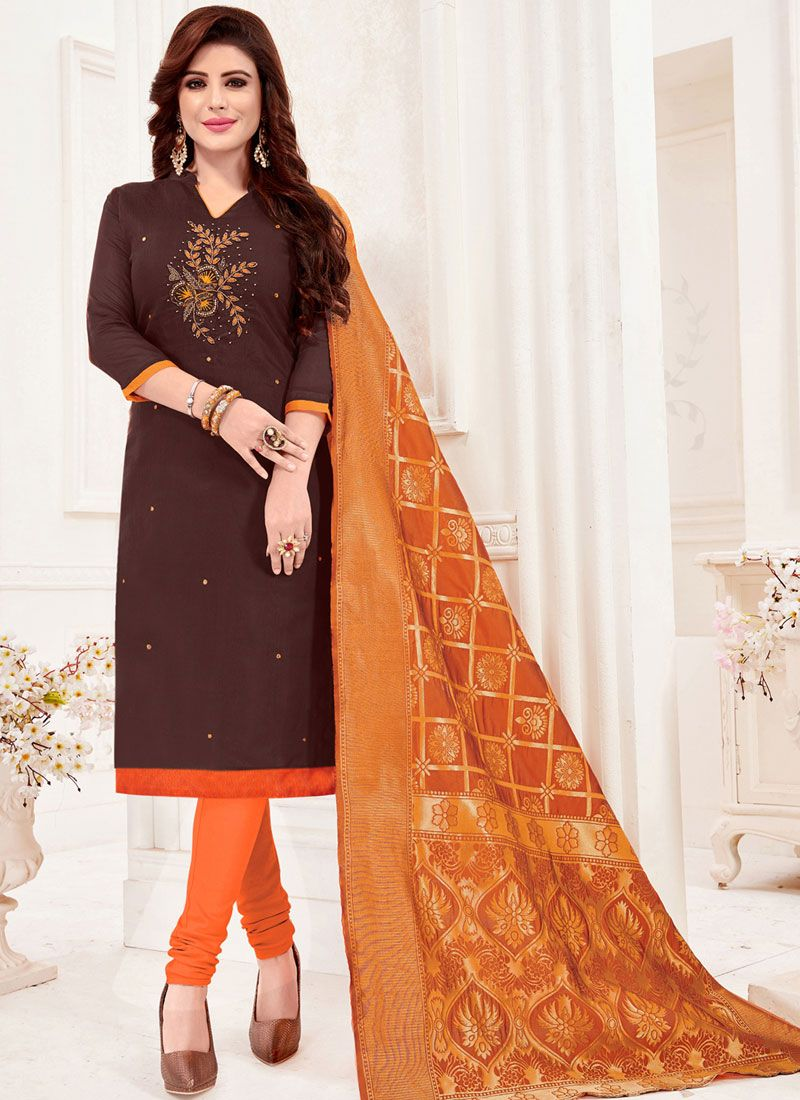 Brown Border Casual Churidar Salwar Suit
