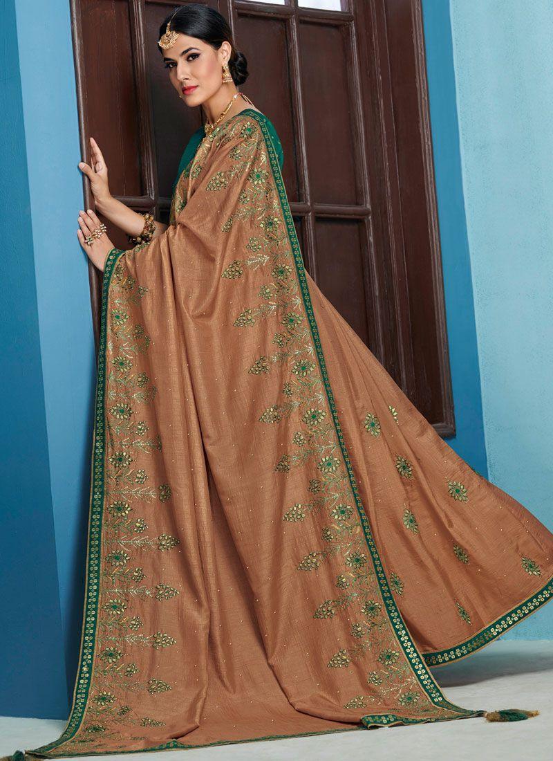 Brown Bridal Raw Silk Designer Traditional Saree