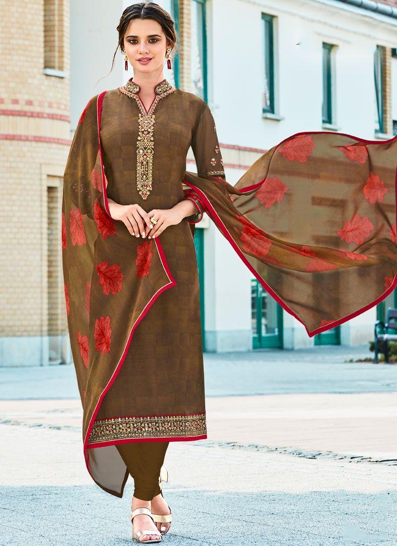 Brown Ceremonial Churidar Designer Suit
