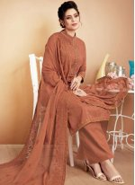 Brown Ceremonial Designer Palazzo Suit