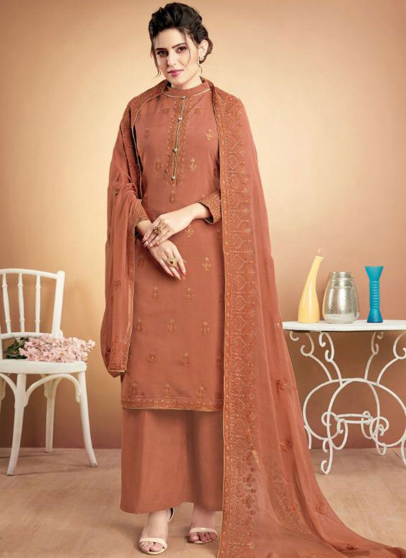 Brown Ceremonial Designer Palazzo Suit