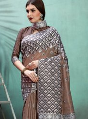 Brown Ceremonial Designer Traditional Saree