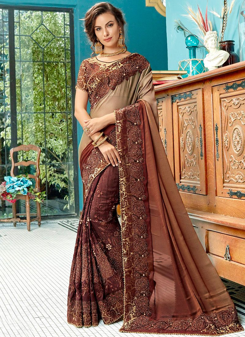 Brown Ceremonial Shaded Saree