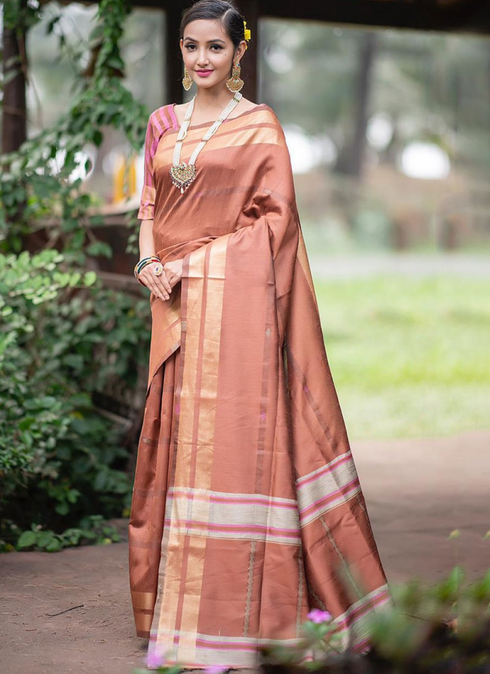 Brown Ceremonial Traditional Saree