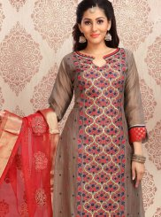 Brown Chanderi Embroidered Churidar Designer Suit