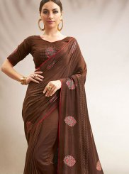 Brown Chanderi Traditional Saree