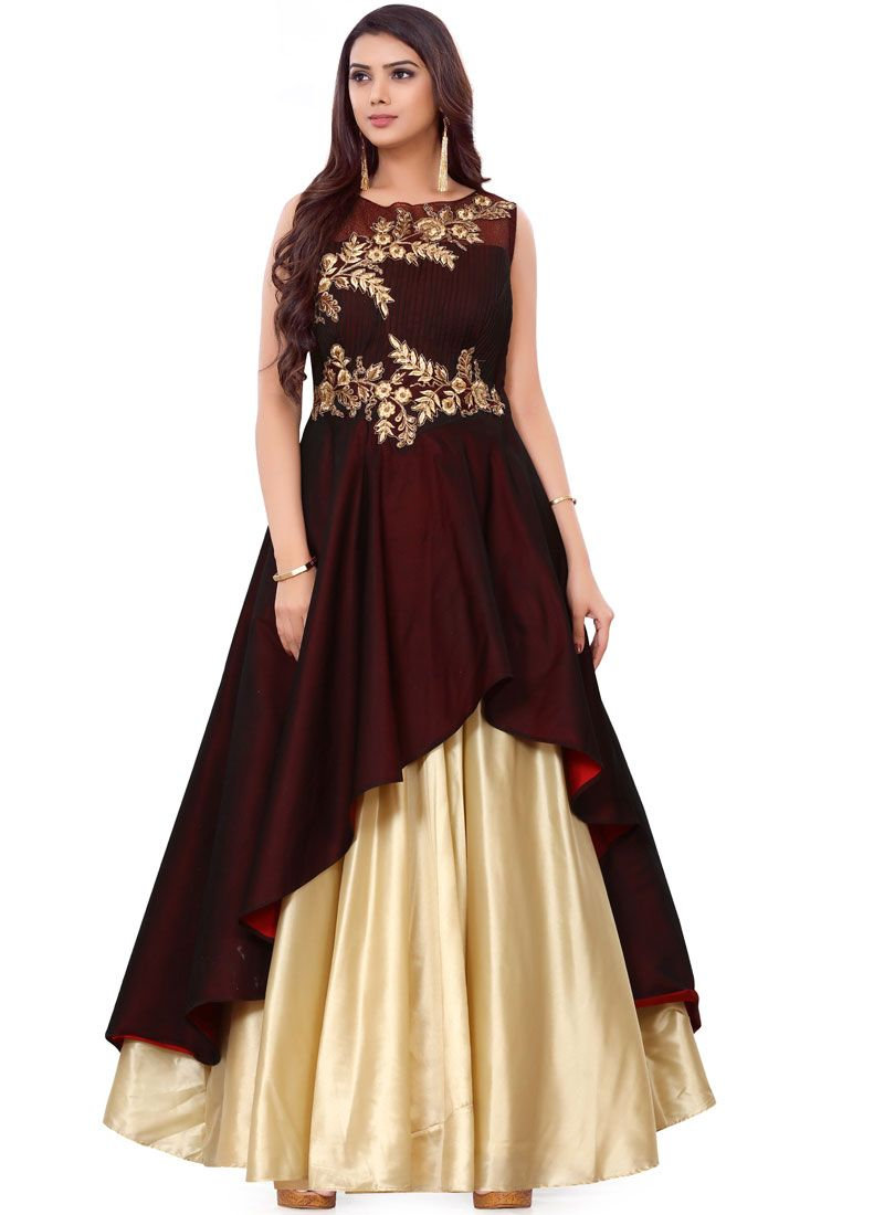Brown Color Readymade Gown