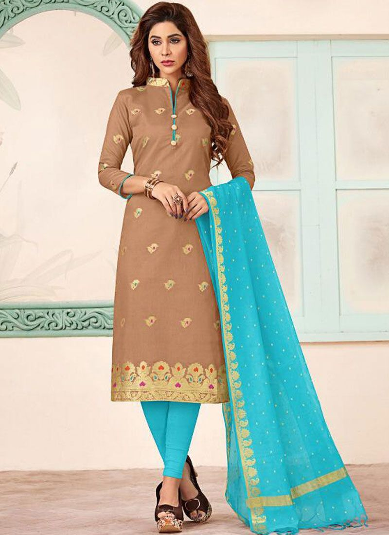 Brown Color Trendy Churidar Salwar Suit