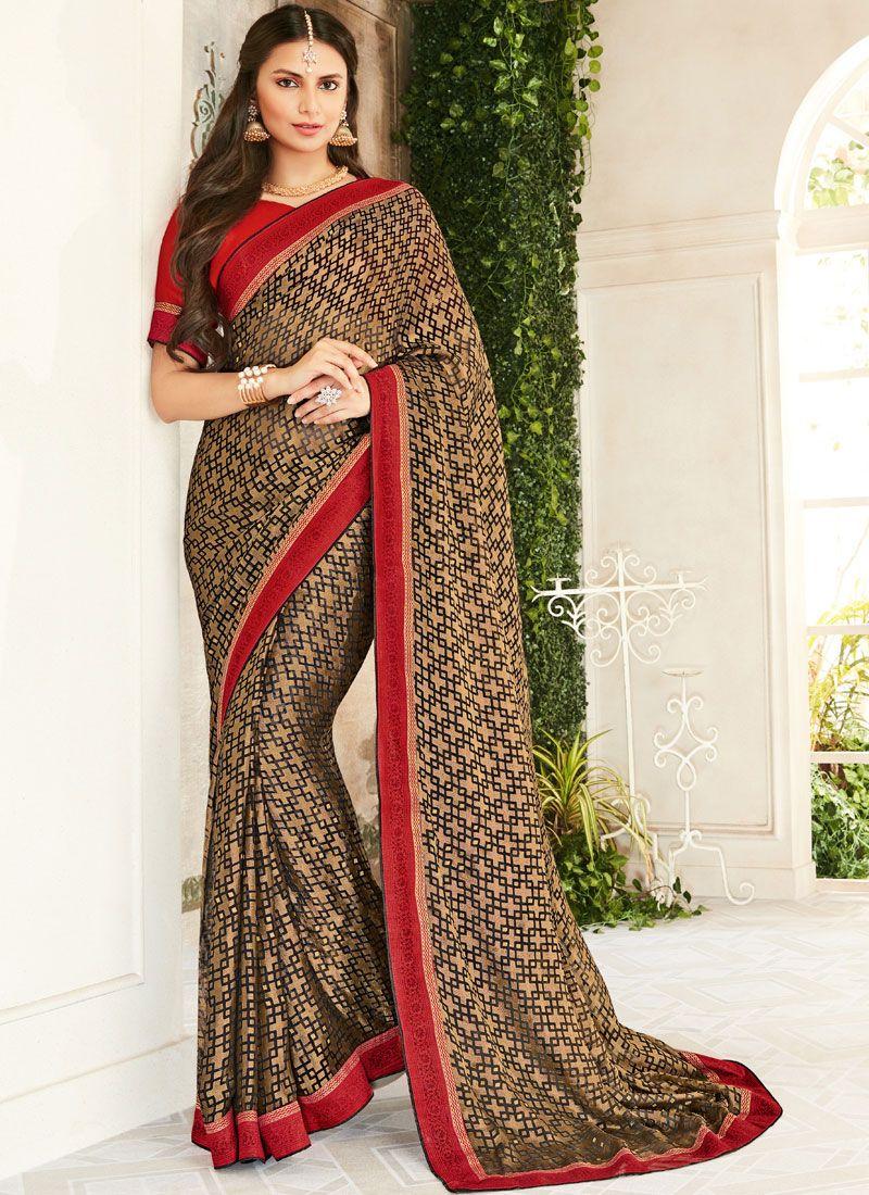 Brown Color Trendy Saree