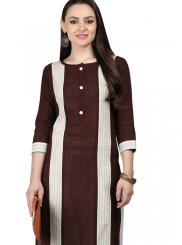 Brown Cotton Casual Kurti