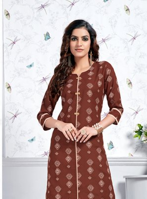 Brown Cotton Print Party Wear Kurti