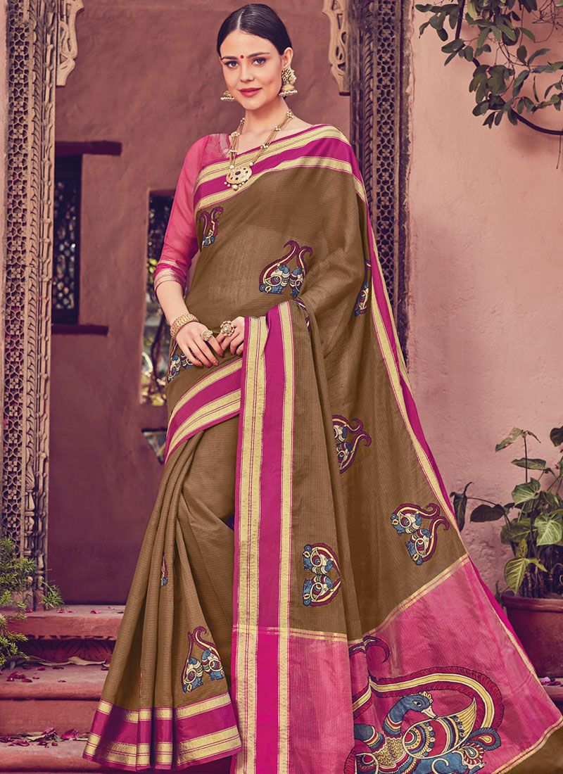 Brown Designer Traditional Saree