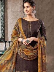 Brown Digital Print Patiala Salwar Suit