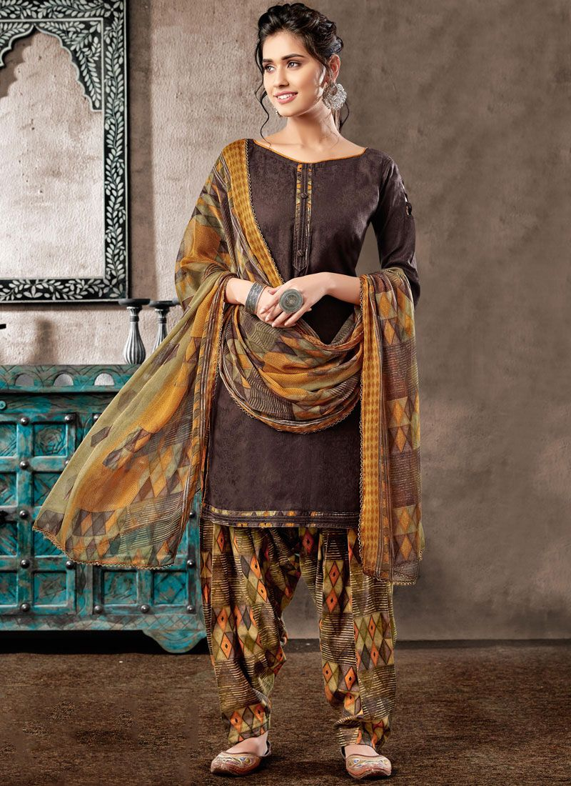 Brown Digital Print Patiala Salwar Suit