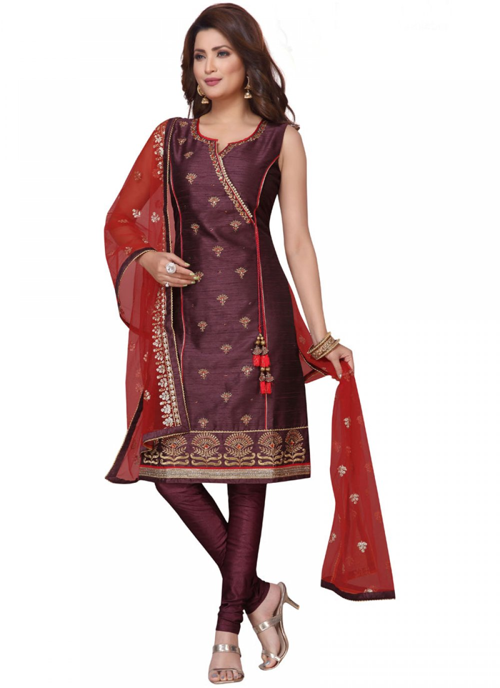 Brown Embroidered Art Silk Readymade Suit