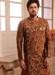 Brown Embroidered Ceremonial Indo Western