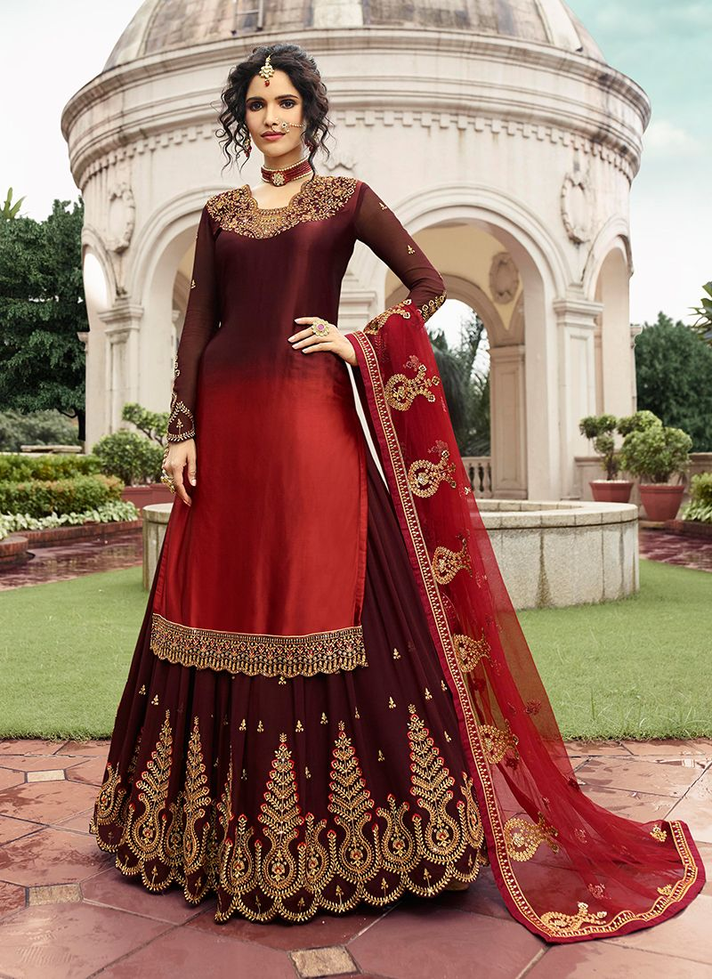 Brown Embroidered Ceremonial Trendy A Line Lehenga Choli