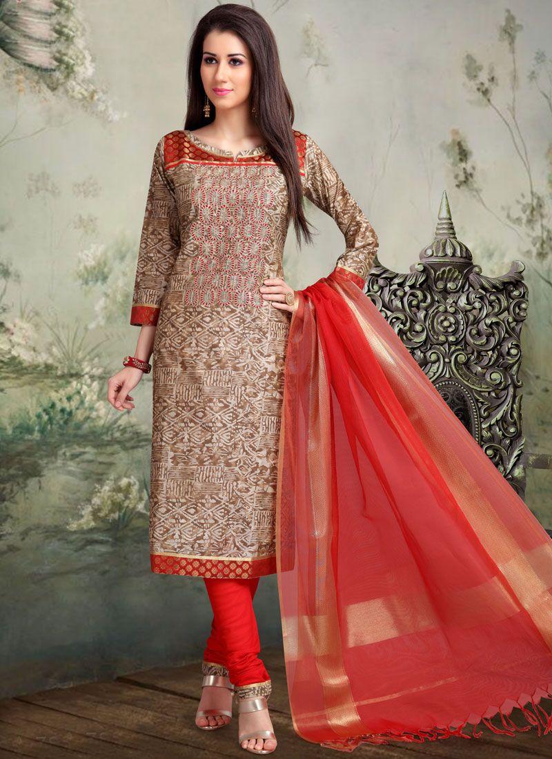 Brown Embroidered Churidar Salwar Kameez