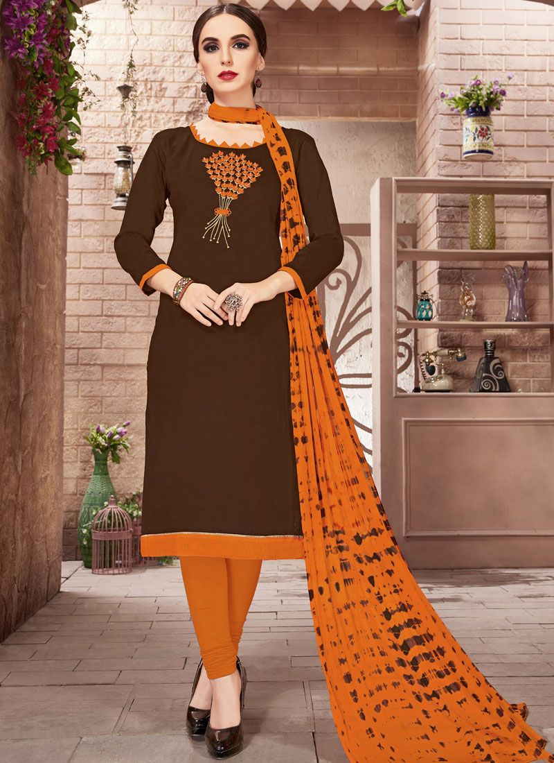 Brown Embroidered Churidar Suit