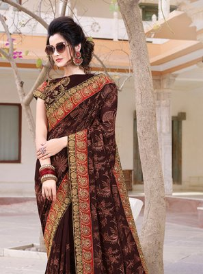 Brown Embroidered Classic Designer Saree