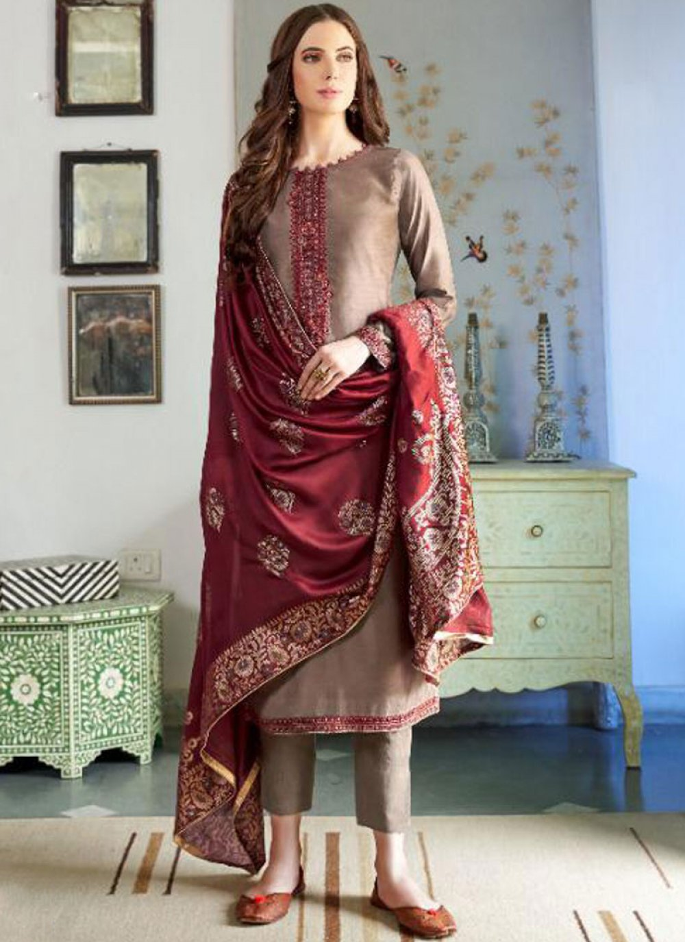 Brown Embroidered Cotton Silk Designer Pakistani Suit