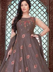 Brown Embroidered Designer Gown
