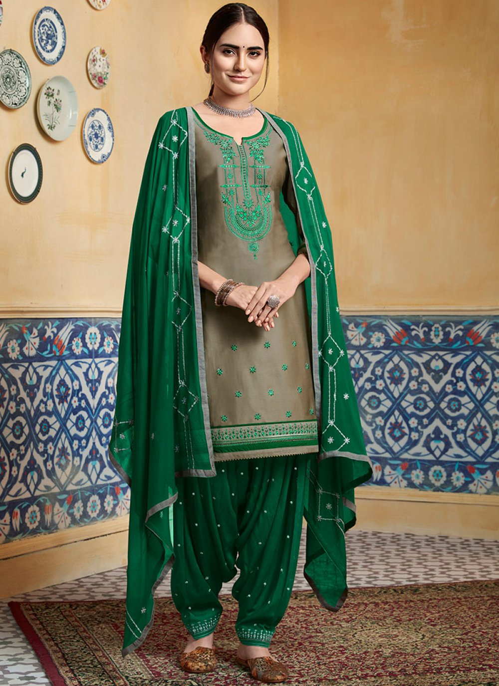 Brown Embroidered Designer Patiala Suit